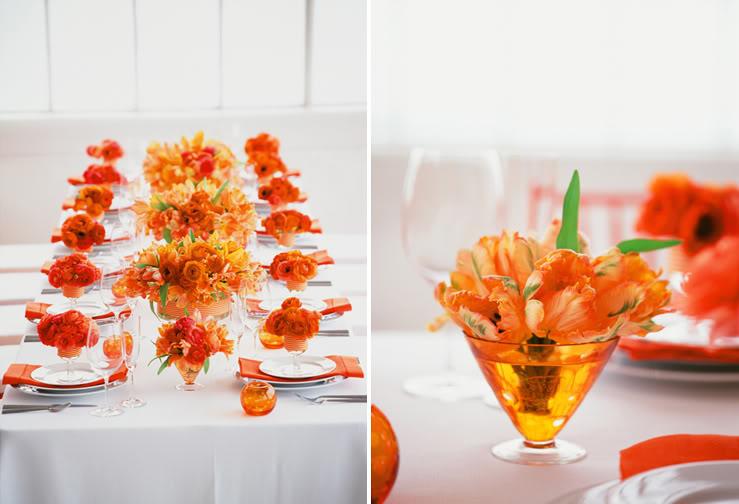 decoração de casamento laranja