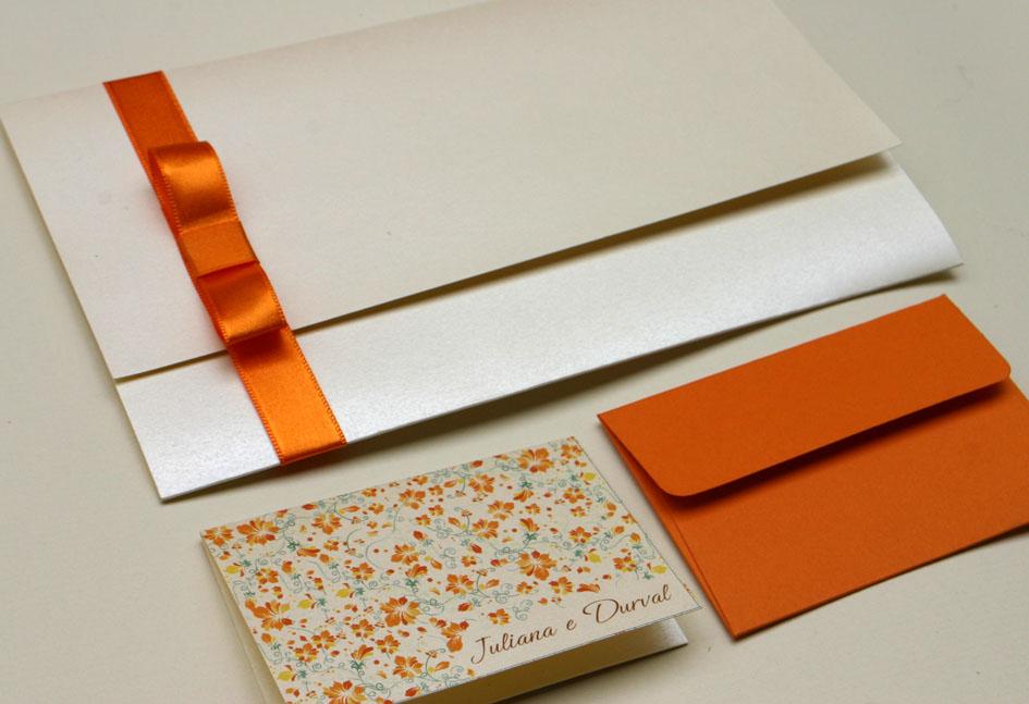 convite de casamento laranja