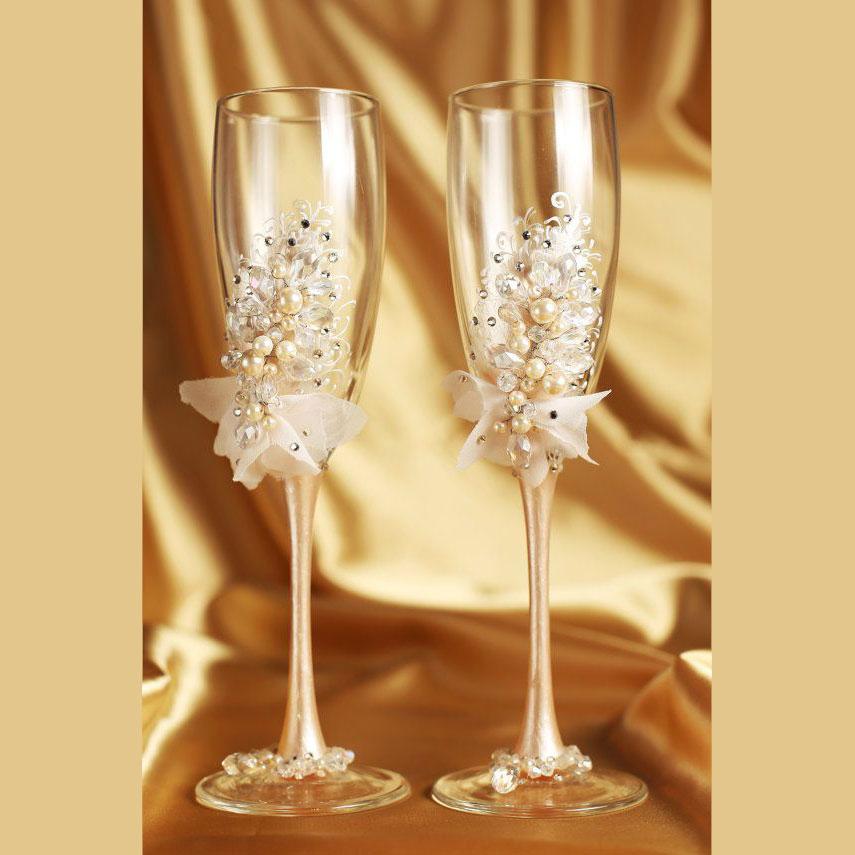 Taça decorada para os noivos