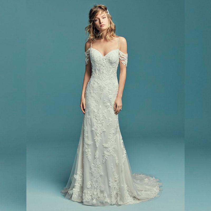 Vestido de noiva com alça de renda