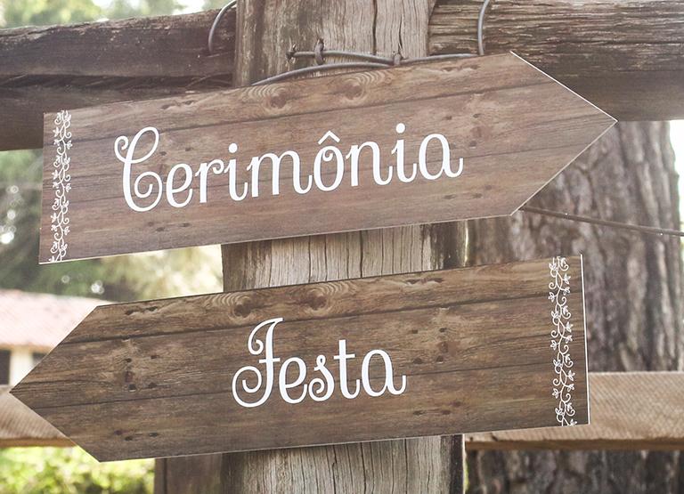 Placas sinalizadoras para casamento
