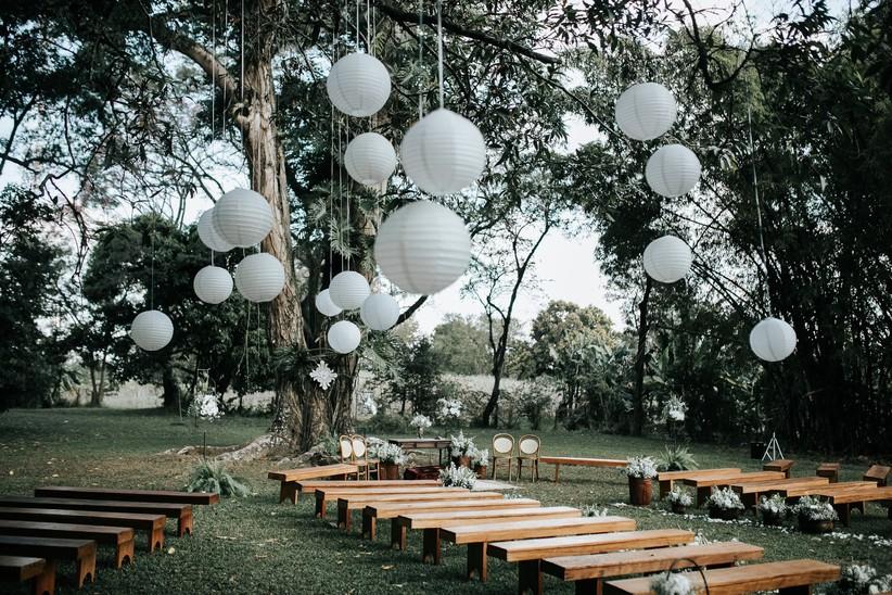 Decoração de casamento com lanternas japonesas